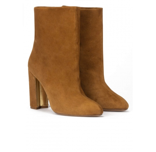High block heel ankle boots in camel suede Pura L�pez