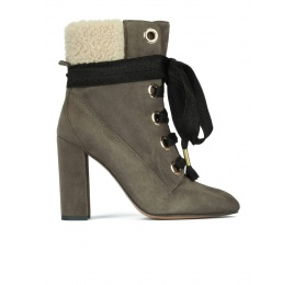 Lace-up high block heel ankle boots in khaki green suede Pura López
