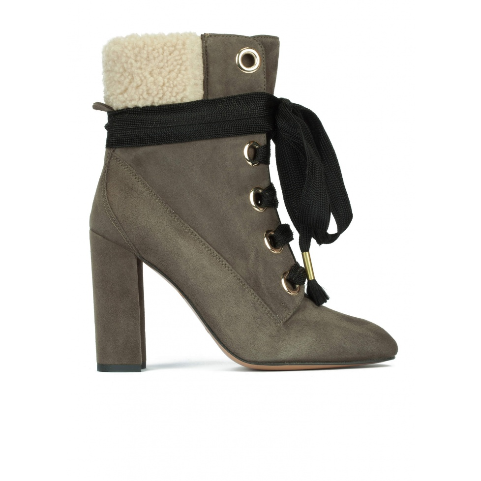 Lace-up high block heel ankle boots in khaki green suede
