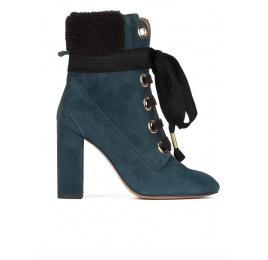 Petrol blue fleece ankle cuff lace-up high block heel ankle boots Pura López