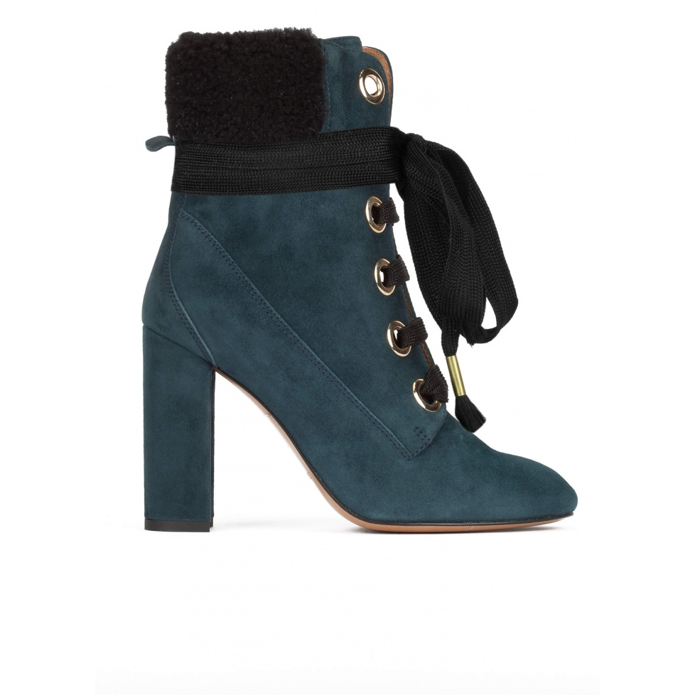 Petrol blue fleece ankle cuff lace-up high block heel ankle boots