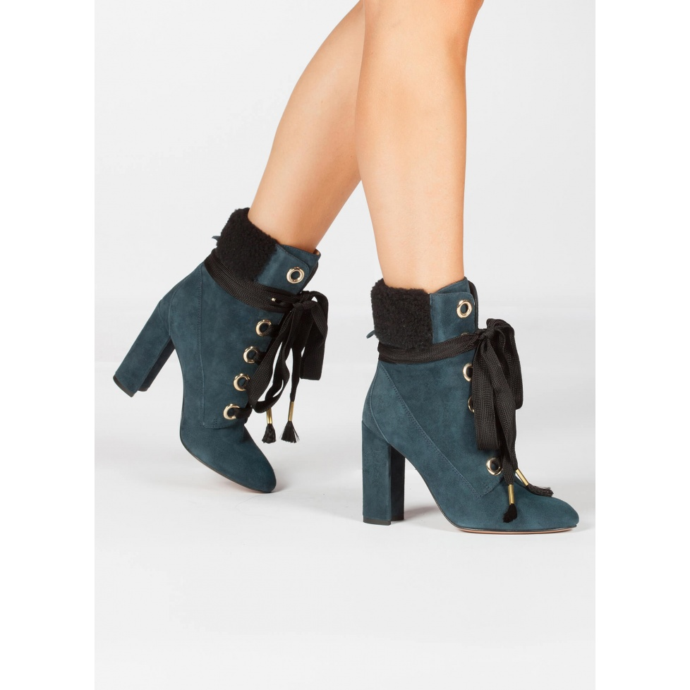 Petrol blue fleece ankle cuff lace-up high heel ankle boots