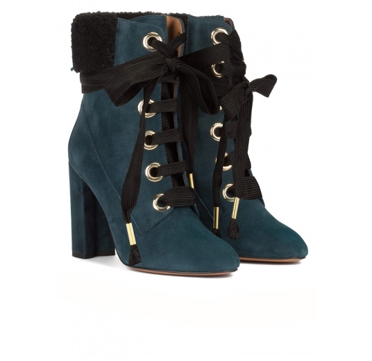 Petrol blue fleece ankle cuff lace-up high block heel ankle boots Pura L�pez