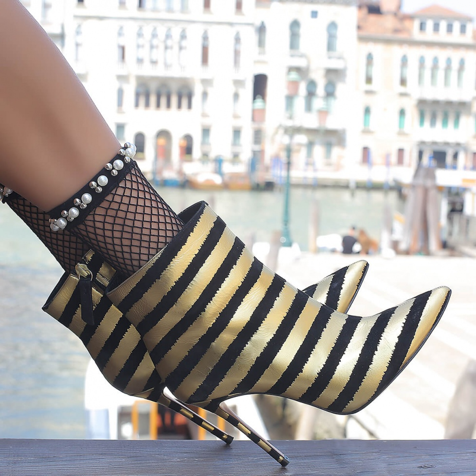 Gold striped high heel ankle boots - online shoe store Pura Lopez
