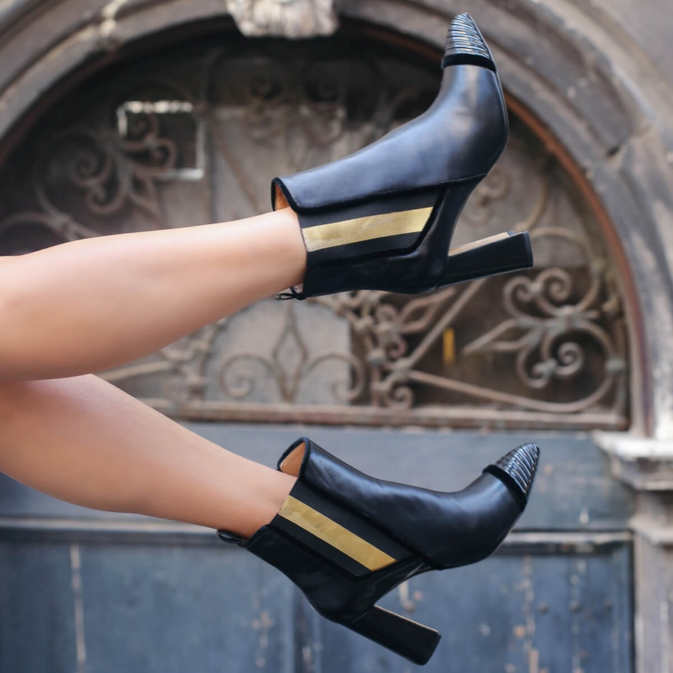 Black leather high block heel ankle boots with side elastic