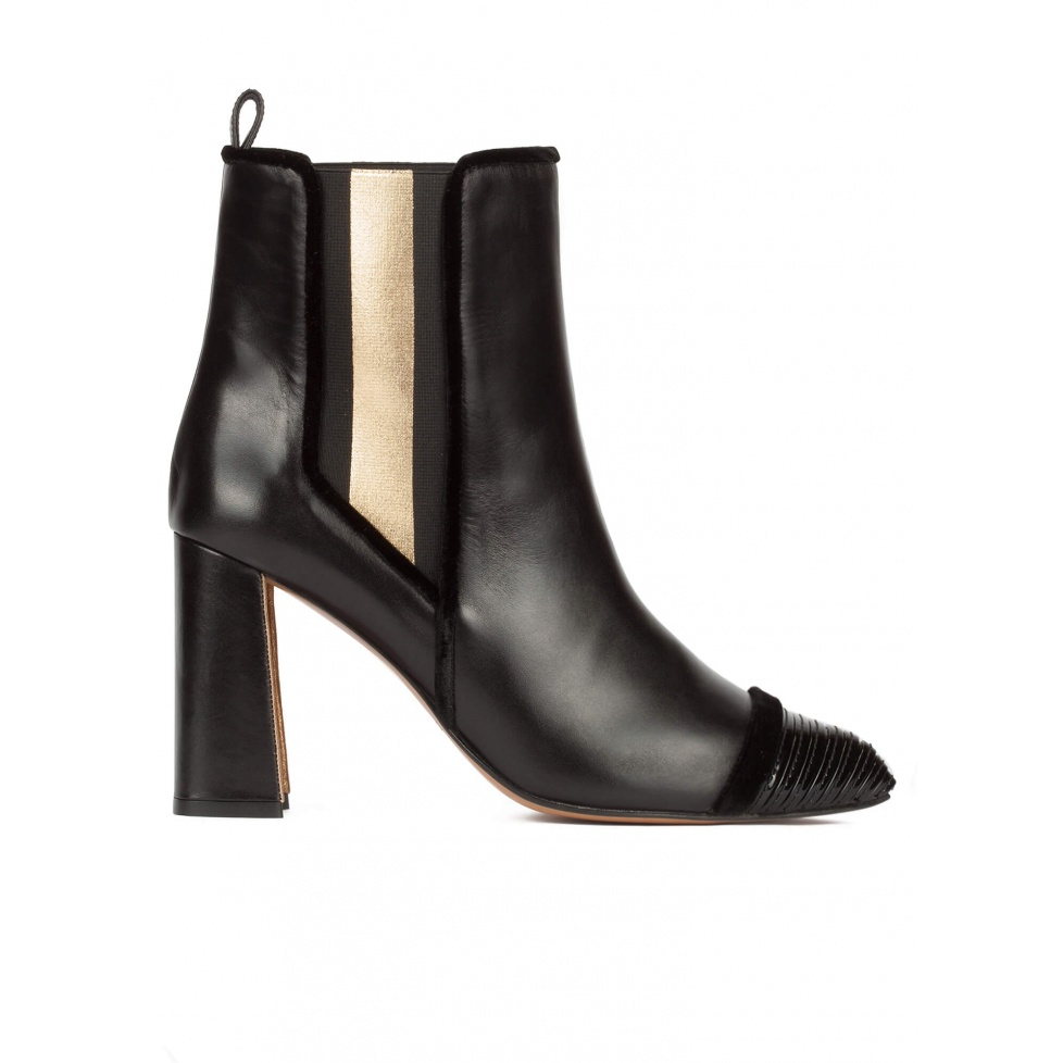Black leather high block heel ankle boots with elasticated panel