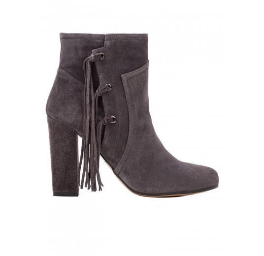 High heel ankle boots in grey suede with fringes Pura L�pez