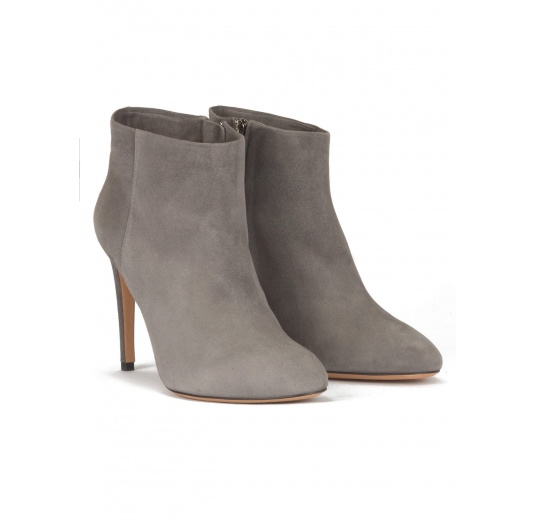 High stiletto heel almond shape toe ankle boots in grey suede Pura L�pez