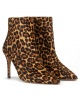Leopard-print high heel pointed toe ankle boots