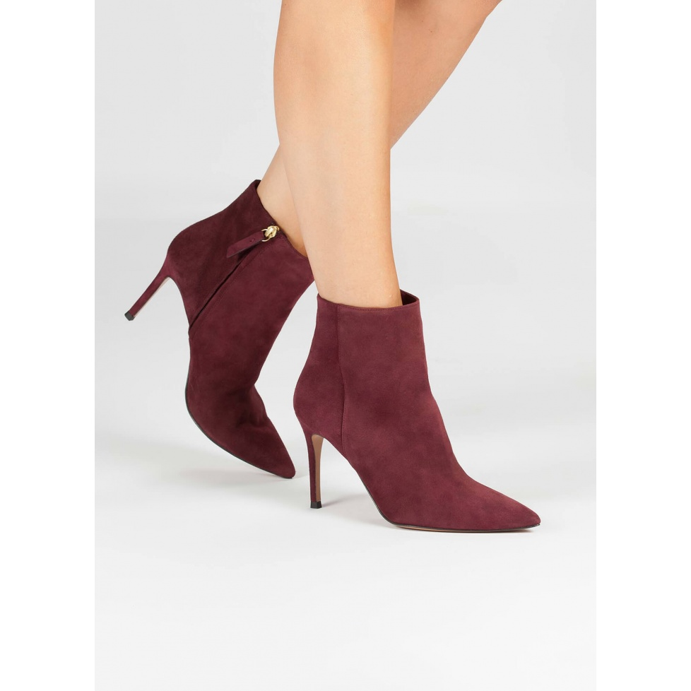 Burgundy high heel ankle boots - online shoe store Pura Lopez