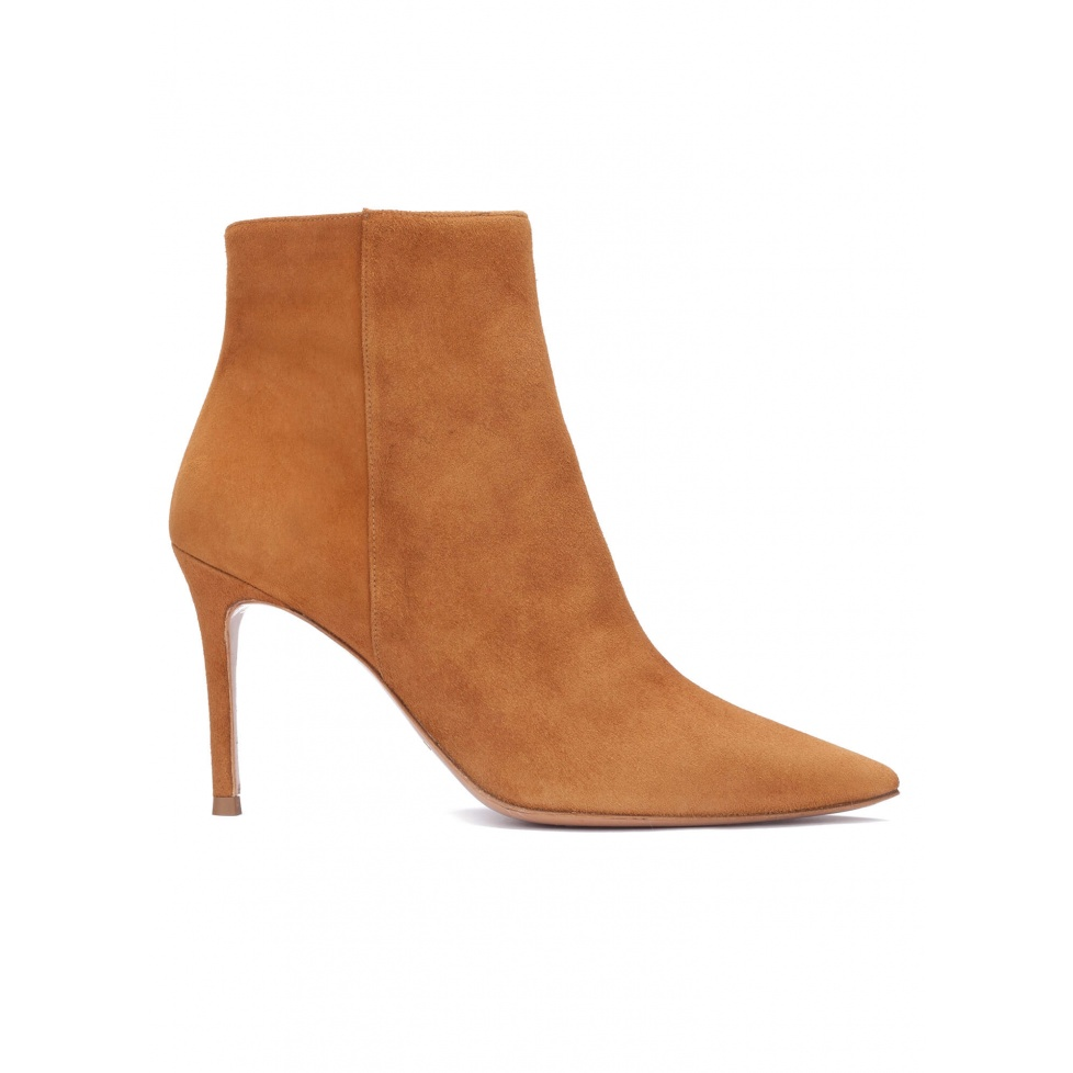 Camel suede high heel point-toe ankle boots