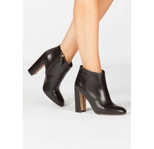 Black leather high chunky heel ankle boots Pura L�pez