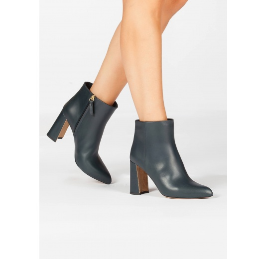 High chunky heel ankle boots in petrol blue leather Pura L�pez