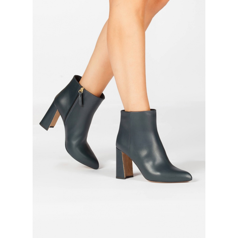 Petrol blue leather high chunky heel ankle boots