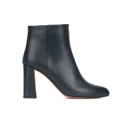 High chunky heel ankle boots in petrol blue leather Pura López