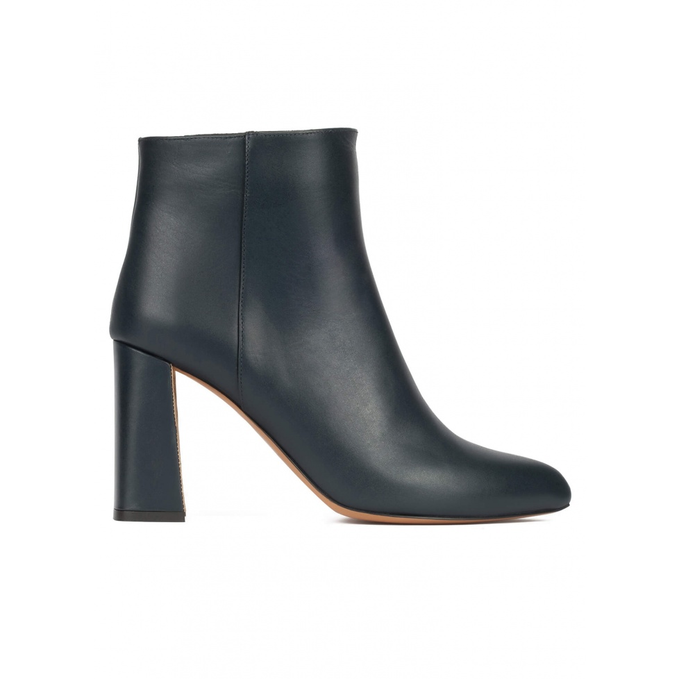High chunky heel ankle boots in petrol blue leather