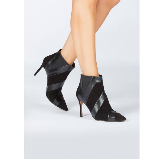 Black heeled pointy toe ankle boots in suede and leather Pura L�pez