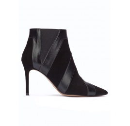 Black heeled pointy toe ankle boots in suede and leather Pura López