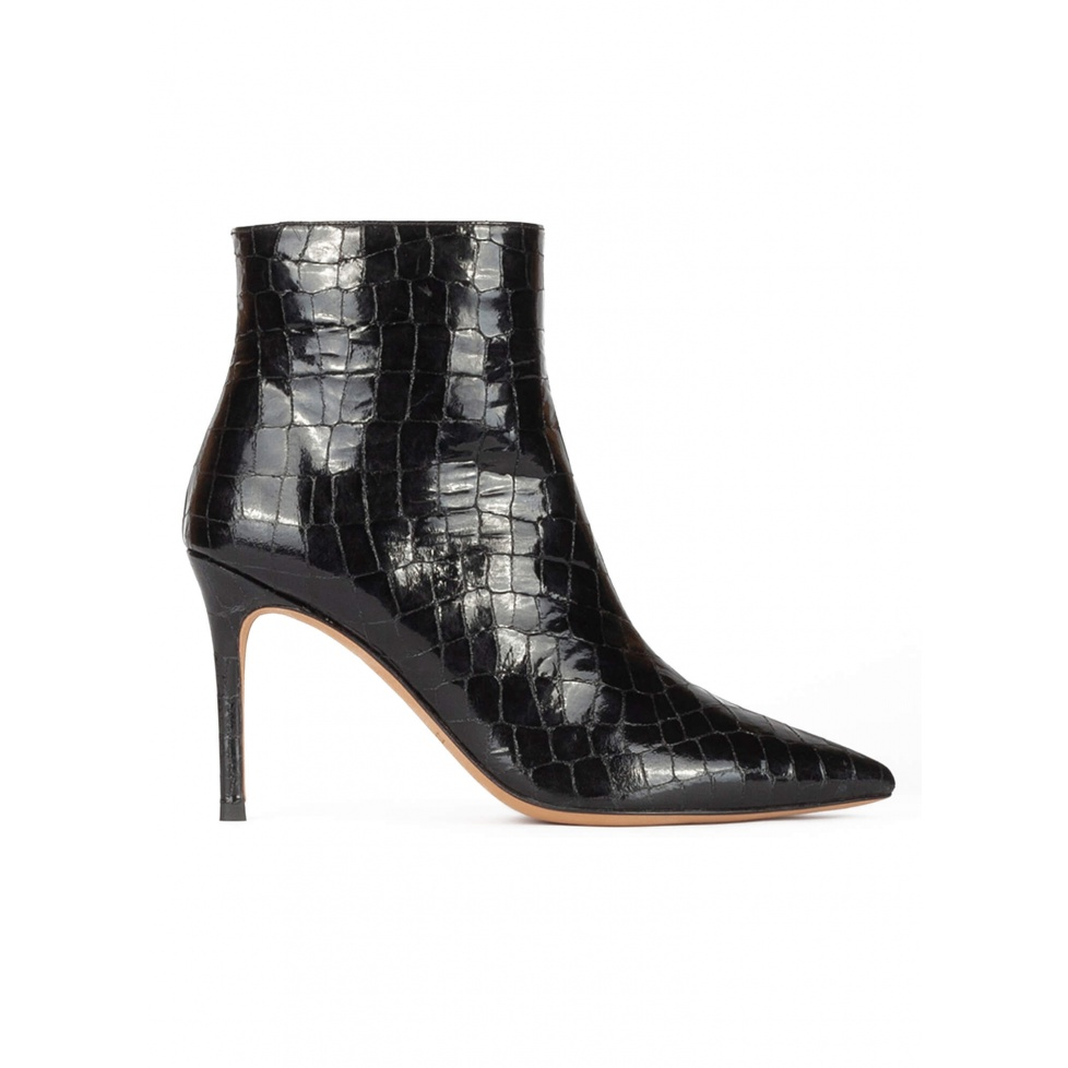 Black croc-effect leather heeled point-toe ankle boots