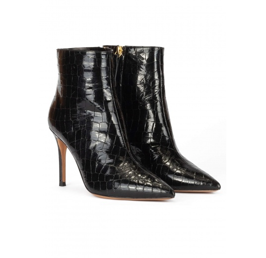Black croc-effect leather heeled point-toe ankle boots Pura López