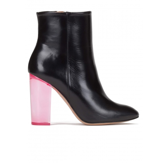 Clear block heel ankle boots in black leather Pura López