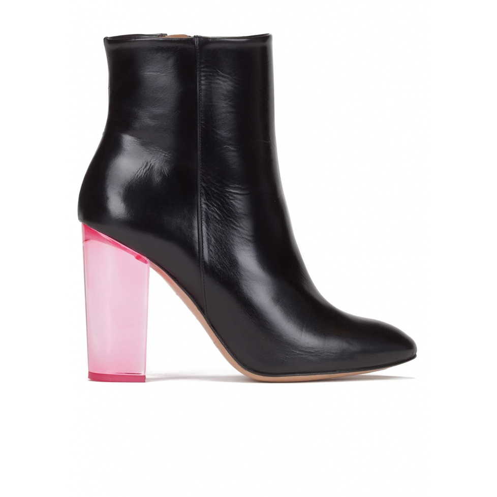Clear block heel ankle boots in black leather