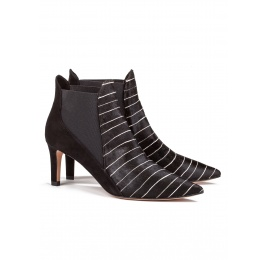 Mid heel ankle boots in pinstripe Pura López