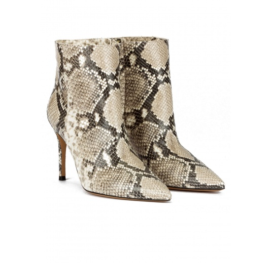 Snake-effect high heel point-toe ankle boots Pura L�pez