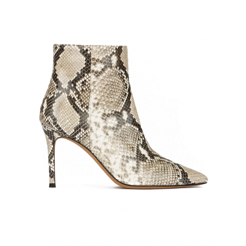 Snake-effect high heel point-toe ankle boots