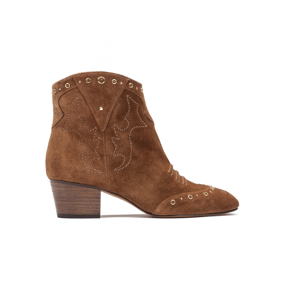 Mid heel ankle boots in brown suede