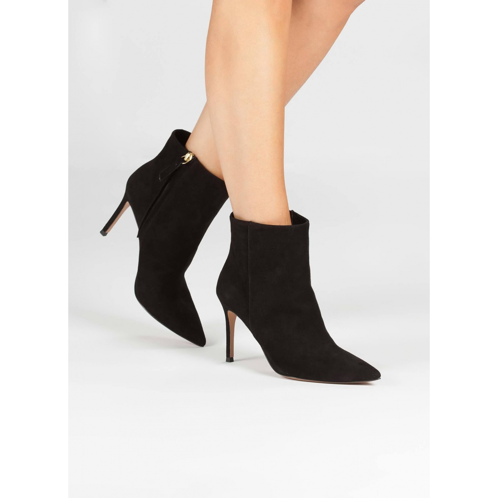 Black suede high heel point-toe ankle boots