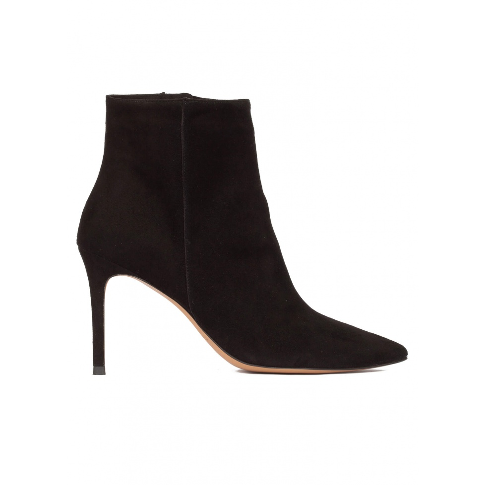 Black suede heeled pointy toe ankle boots