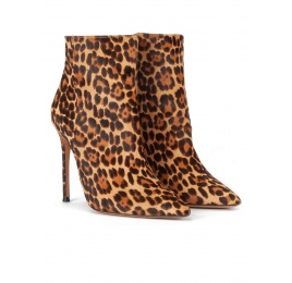 Leopard print high heel pointy toe ankle boots Pura López