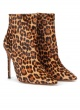 Leopard print high heel pointy toe ankle boots