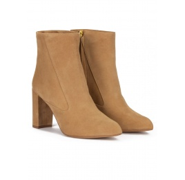 High block heel point-toe ankle boots in camel suede Pura López