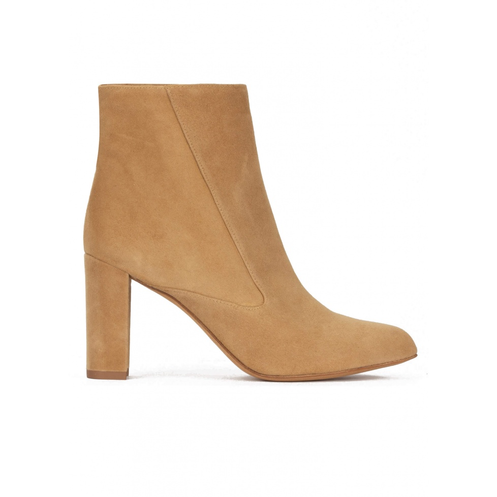 High block heel point-toe ankle boots in camel suede