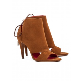 Cutout high heel sandals in chestnut suede Pura López