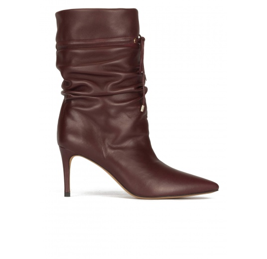 Slouchy mid heel point-toe ankle boots in burgundy leather Pura L�pez
