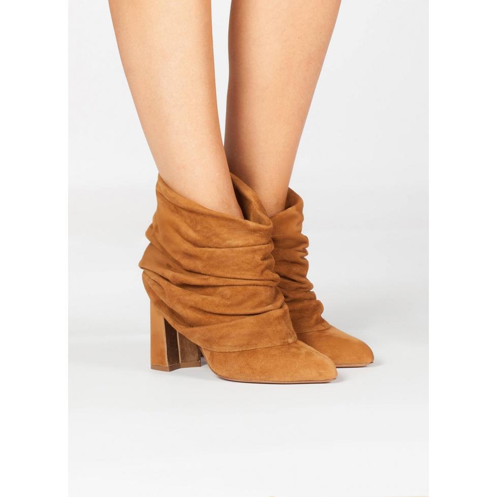 Camel high block heel ankle boots - online shoe store Pura Lopez