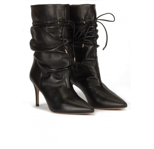Slouchy mid-heel pointed toe ankle boots in black leather Pura L�pez