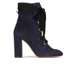 Navy blue suede lace-up high block heel ankle boots Pura López