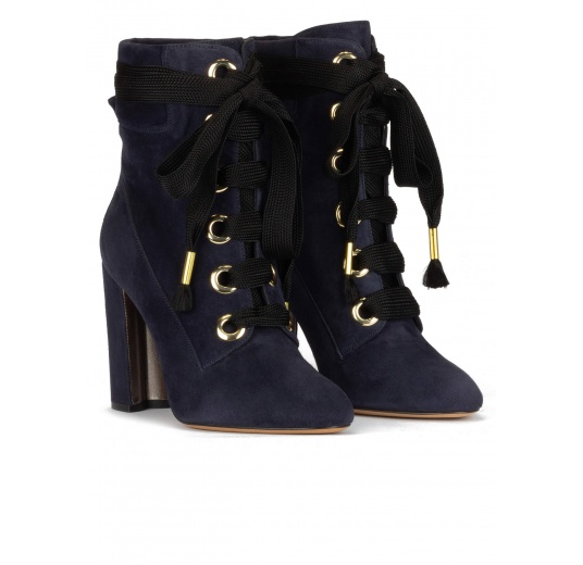 Navy blue suede lace-up high block heel ankle boots Pura L�pez