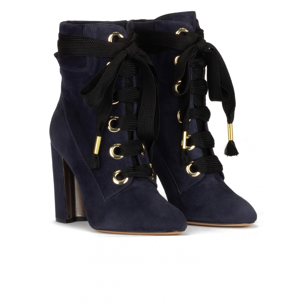 Navy blue suede lace-up high block heel ankle boots