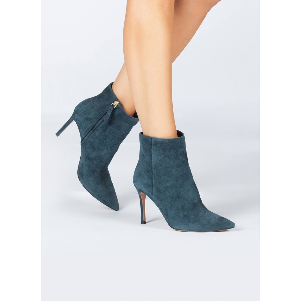 High heel point-toe ankle boots in petrol blue suede