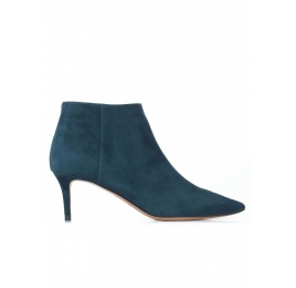 Mid heel pointy toe ankle boots in petrol blue suede Pura López