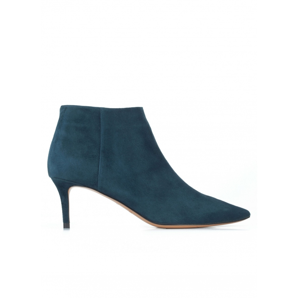 Mid heel pointy toe ankle boots in petrol blue suede