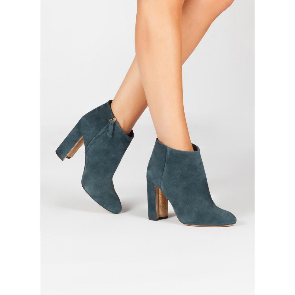 Botines de tacón azul petróleo - tienda de zapatos Pura López