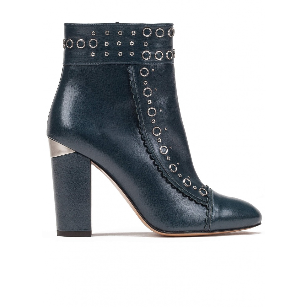 Studded high block heel ankle boots in petrol blue leather