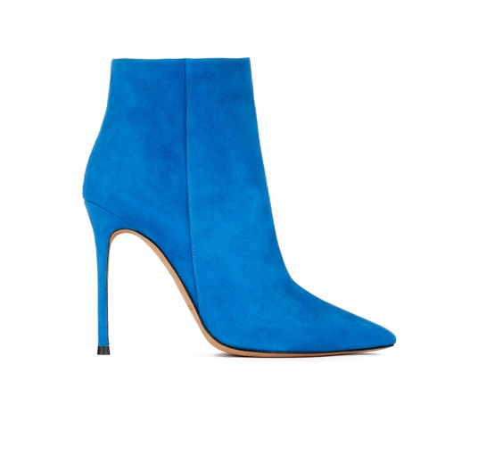 High heel point-toe ankle boots in royal blue suede Pura L�pez