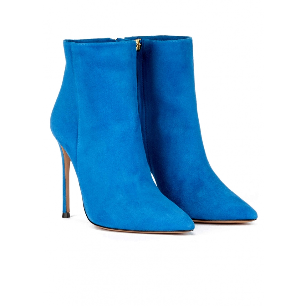 High heel point-toe ankle boots in royal blue suede